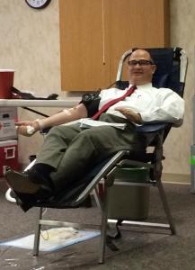 Steve donating blood