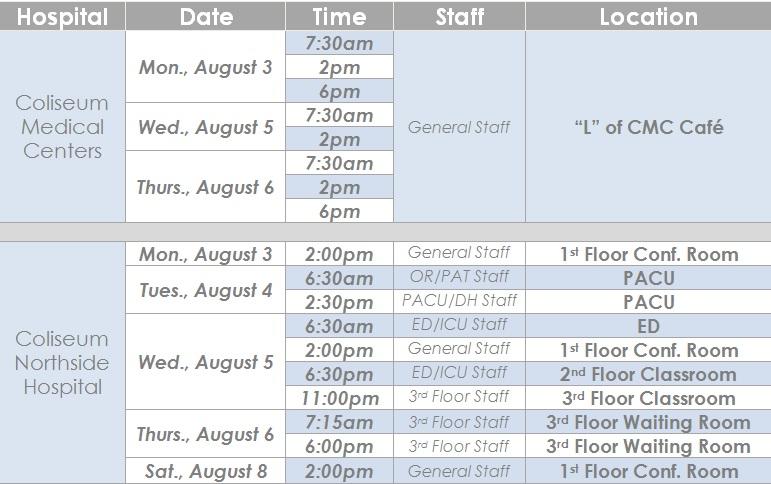 Town Hall schedule