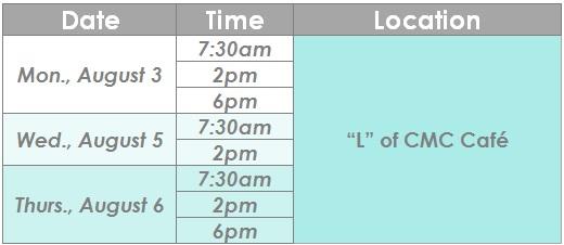 CMC schedule