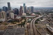 HOUSTON, TEXAS -- TUESDAY, AUGUST 29, 2017: A aerial view of downtown Houston, Texas, on Aug. 29, 2017. (Marcus Yam / Los Angeles Times)