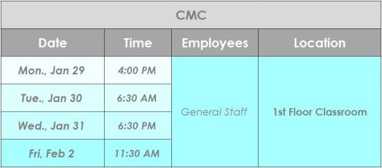 CMC Jan+Feb 2018 Town Hall schedule